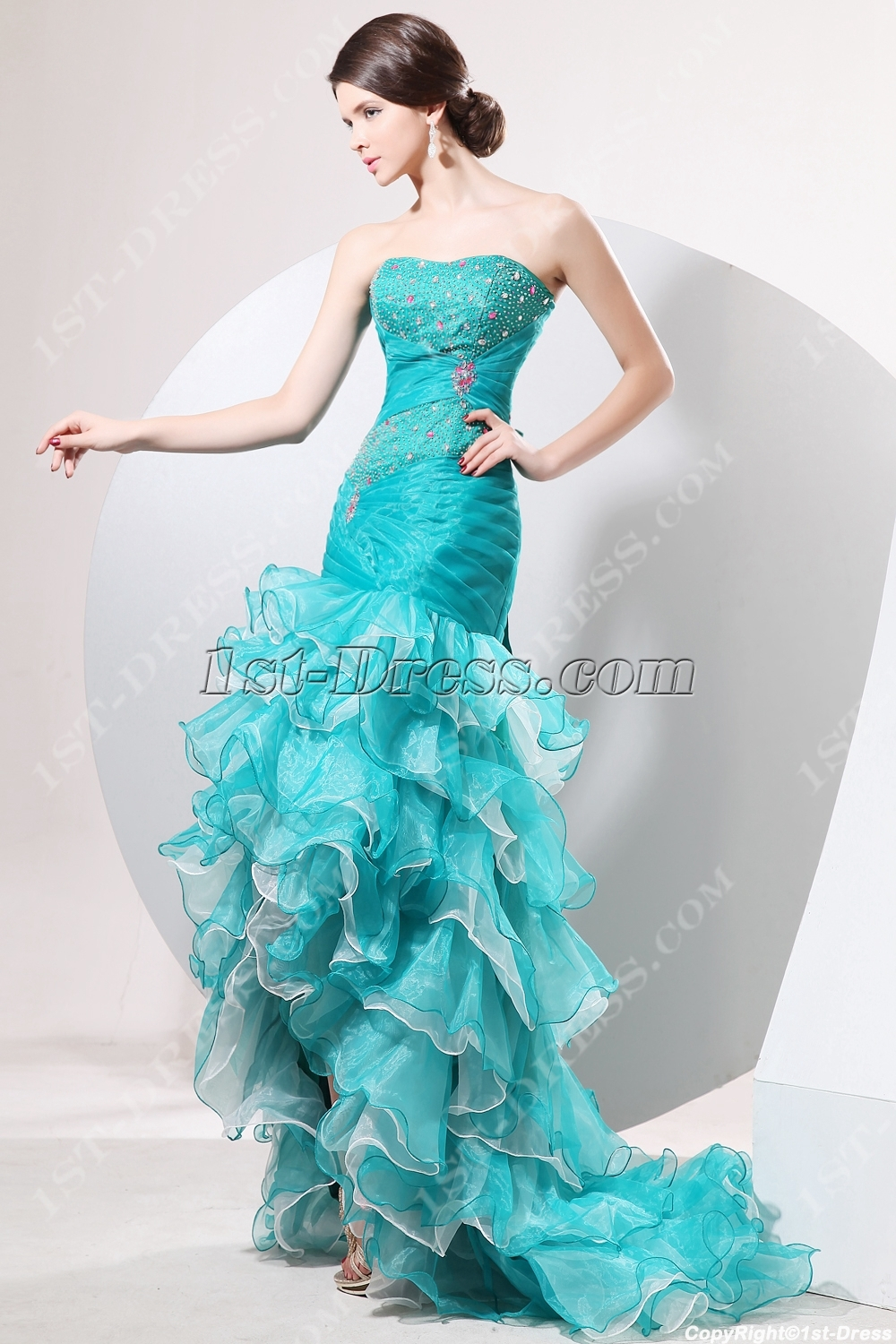 Terrific Teal Blue Mermaid Quinceanera Dress with High-low Hem:1st ...