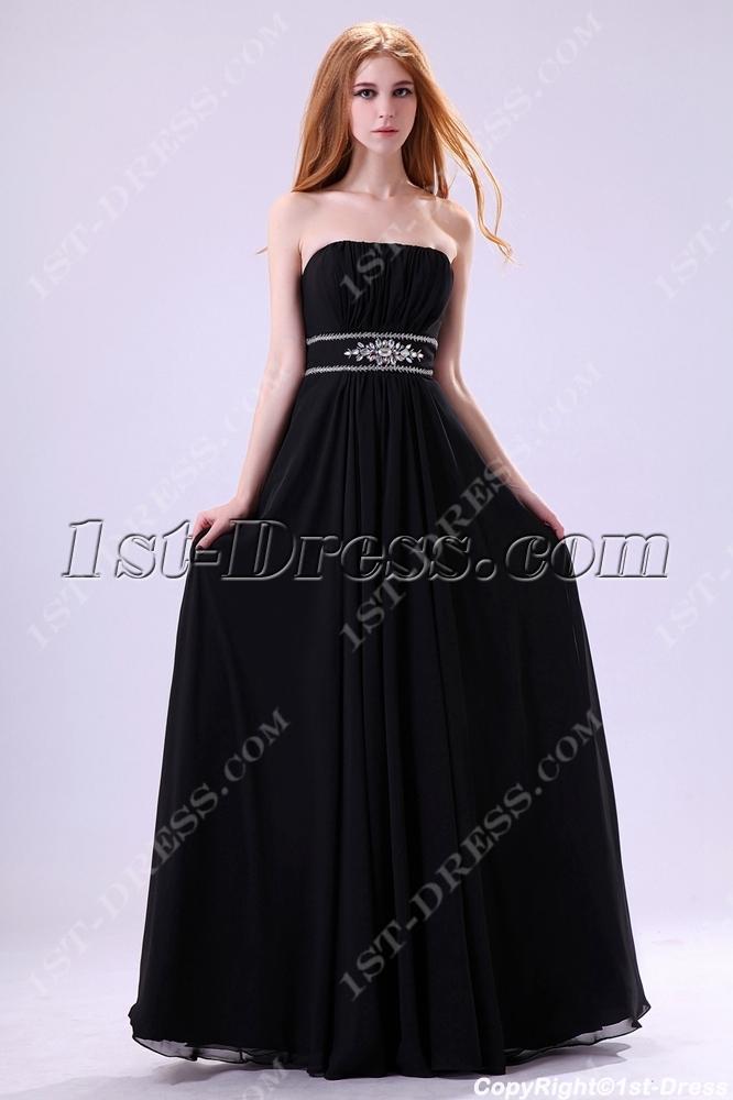 Unique Black Empire Plus Size Party Gown:1st-dress.com