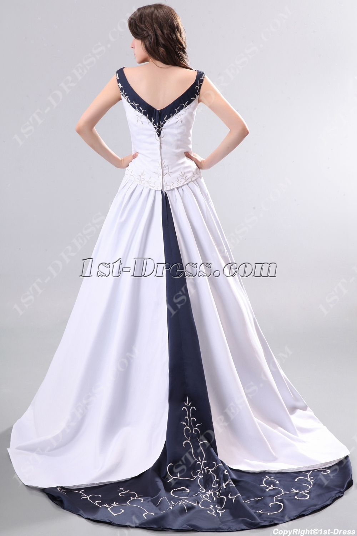 Unique Navy Blue V-neckline Elegant Wedding Gowns:1st-dress.com