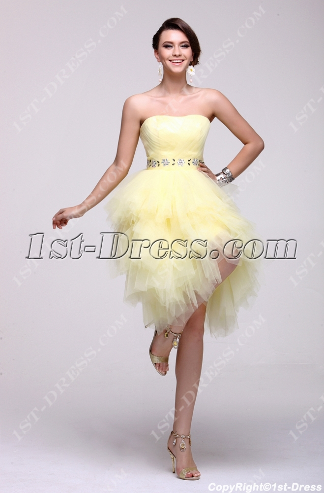 Yellow Strapless Short 15 Quinceanera Dress 1st Dress Com