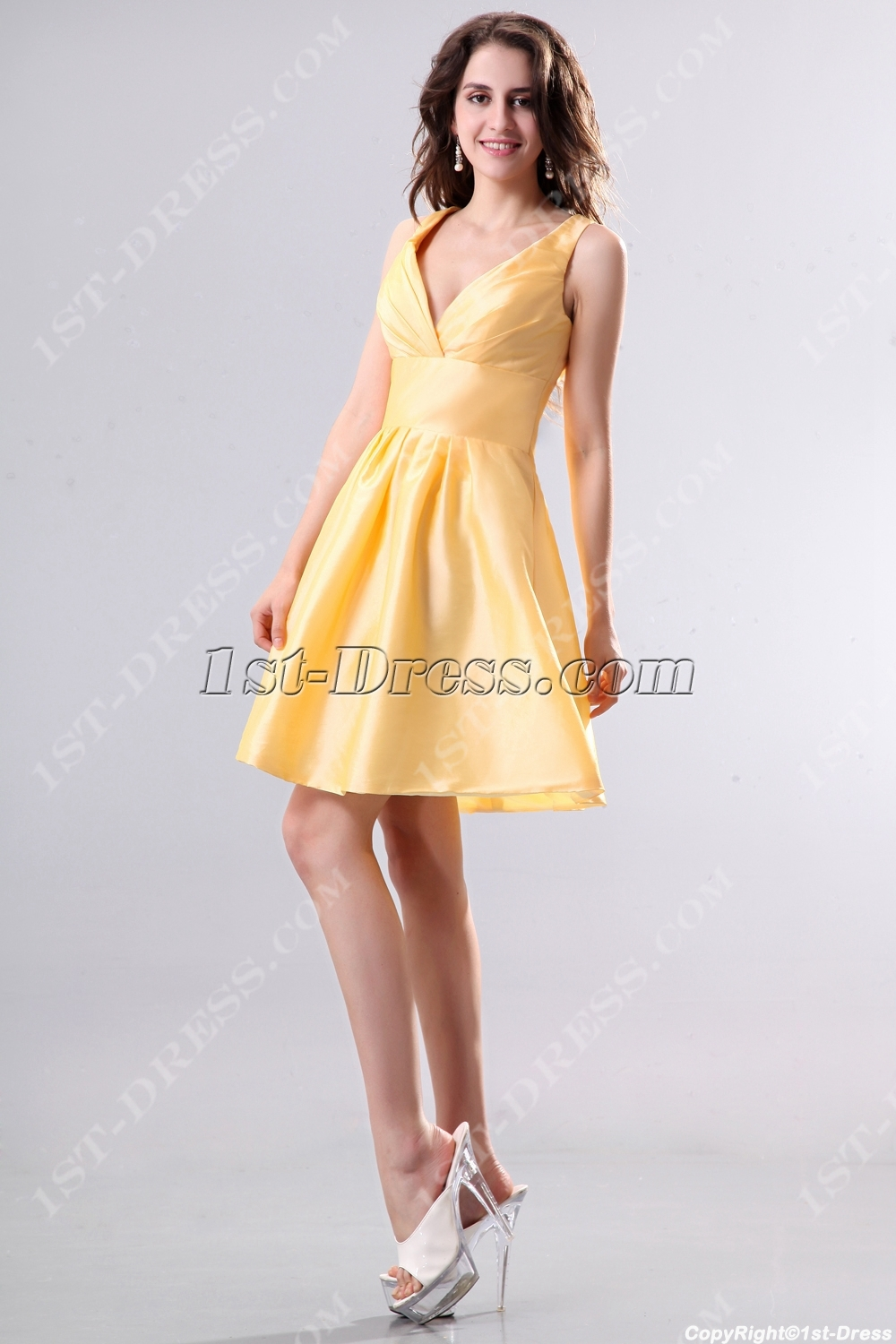 Yellow Taffeta Short Junior Prom Dresses1st Dress