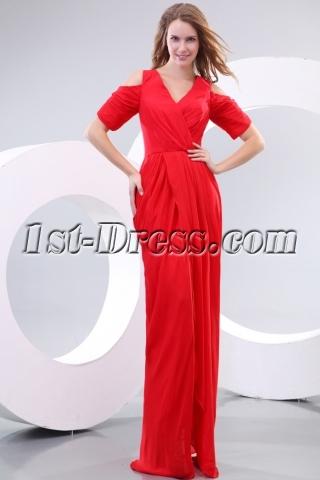 Amazing 80s Red Chiffon Short Sleeves Prom Dress