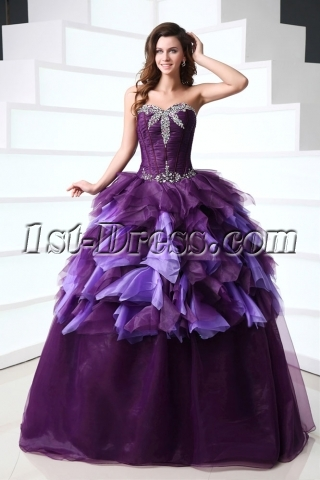 Attractive Purple 15 Quince Gown Dress for 2014 Spring