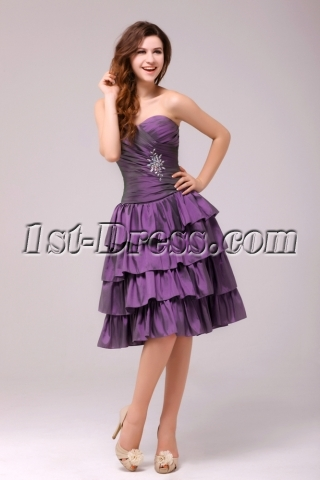 Beautiful Grape Strapless Homecoming Dress