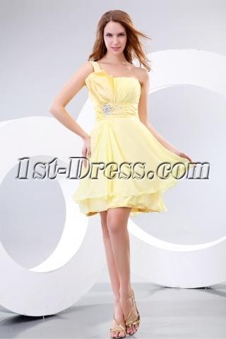 Beautiful One Shoulder Satin Short Bridesmaid Dress