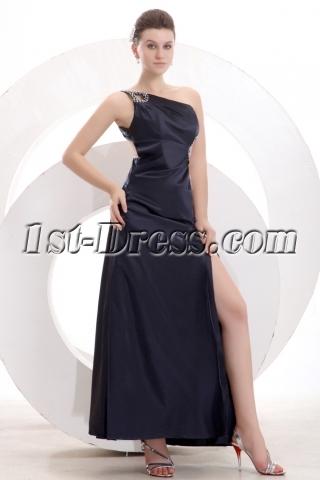 Black One Shoulder Slit Front Club Dress