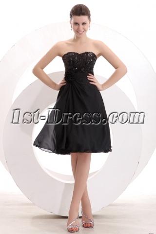 Black Sequins Knee Length Short Prom Dress