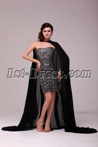 Black Sequins Short Celebrity Prom Dress with Cloak