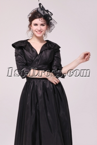 Black Taffeta Middle Sleeves Mother of Groom Dress in Tea Length