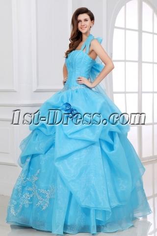 Blue Halter Festa de Quinze Anos Celebrity Dress