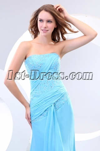 Blue Long Sequined Evening Dresses with Train
