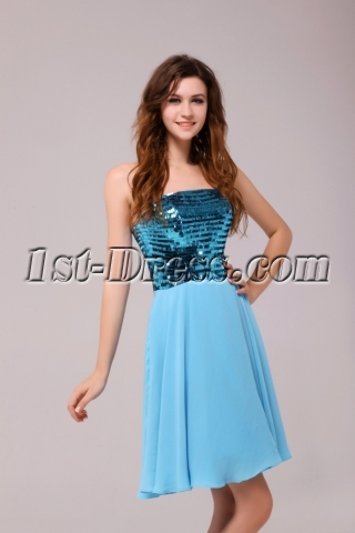 Brilliant Turquoise Short Sequins Homecoming Dresses
