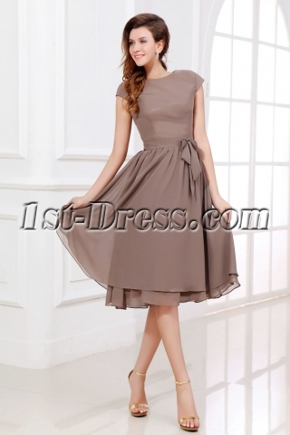 Brown Tea Length Short Mother of Groom Dress with Short Sleeves