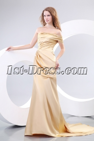 Champagne Classy Evening Dresses with One Shoulder