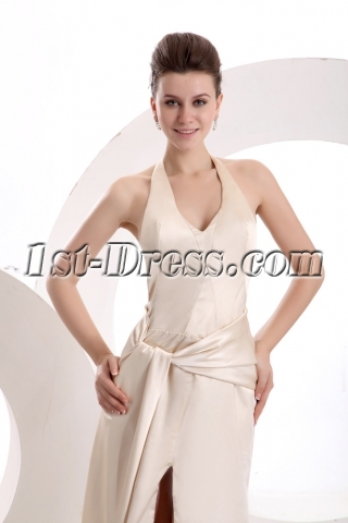 Champagne Halter Open Back Sexy Evening Dress
