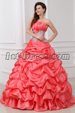 Charming Beaded Strapless Pick up Princess Quinceanera Gown