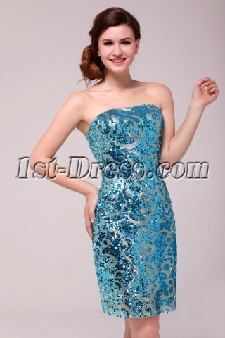 Cheap Brilliant Blue & Silver Sequined Plus Size Prom Dresses