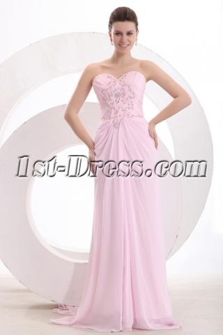 Chic Pink Chiffon Column Long Engage Dress