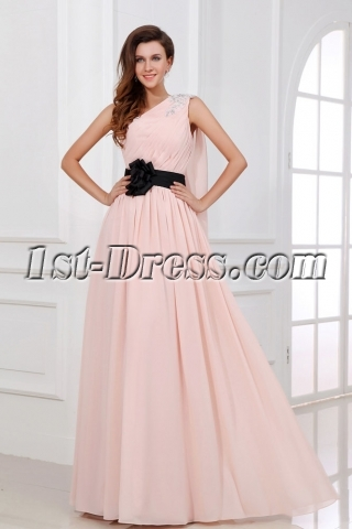 Coral One Shoulder Chiffon Long Evening Dress with Sash