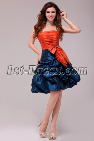 Cute Orange and Teal Short Graduation Dress