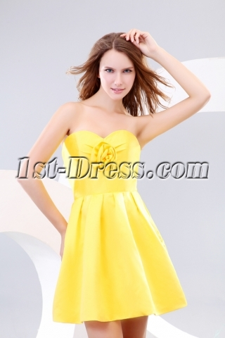 Cute Sunflowers Short Satin Cocktail Dress