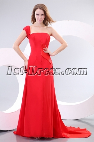 Elegant A-line One Shoulder Red Carpet Celebrity Dresses 2012