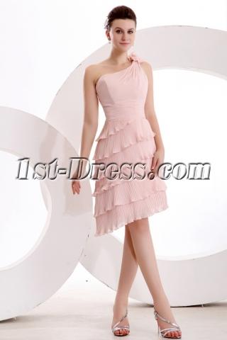 Elegant Dusty Rose One Shoulder Short Bridesmaid Dress