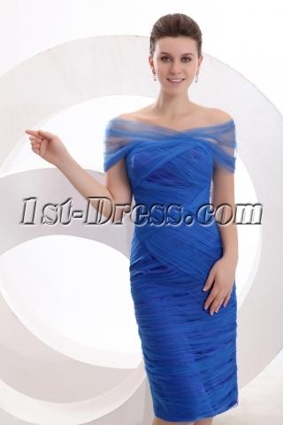Elegant Off Shoulder Royal Blue Mother of Groom Dress