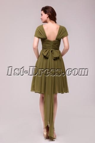 Elegant Olive Green Short Chiffon Prom Dress with Cap Sleeves