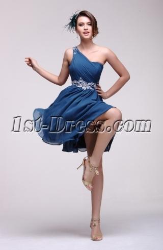Elegant Teal One Shoulder Homecoming Dress