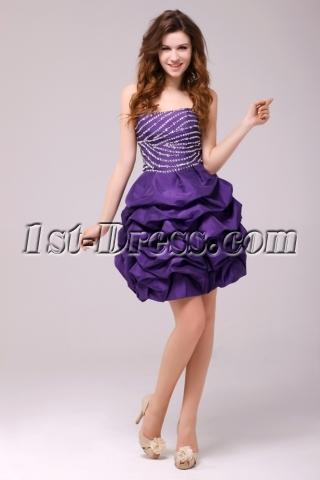 Fancy Purple Bubble Short Cocktail Dress