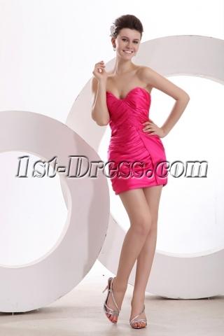 Fuchsia Dramatic Sheath Mini Prom Gown for Junior