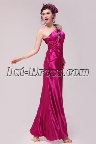 Fuchsia One Shoulder Sheath Open Back Evening Dress