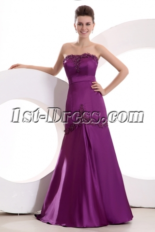 Fuchsia Sweetheart Little A-line Prom Dress