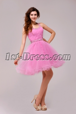 Glamorous Pink Halter Sweet 16 Dress