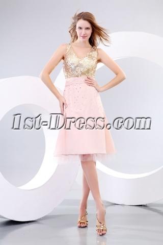 Gold Sequins Short Homecoming Graduation Dress