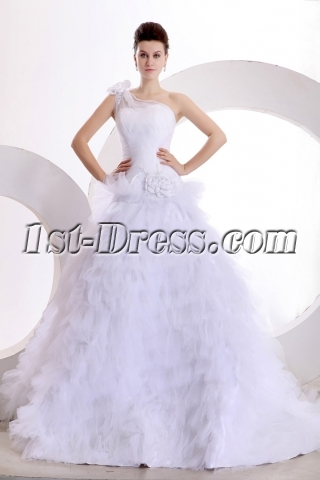 Gorgeous One Shoulder Ball Gown Wedding Dresses with Flowers