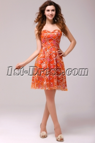 Graceful Orange Sweetheart Homecoming Dress
