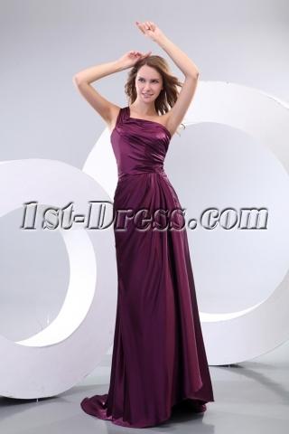 Grape One Shoulder Evening Dresses for Wedding