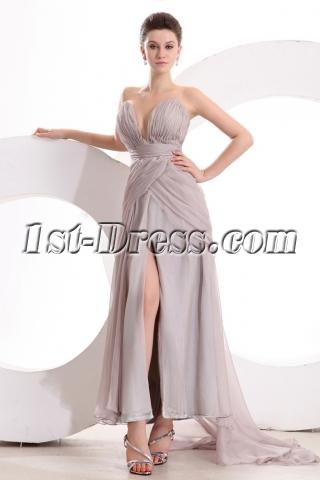 Gray Chiffon Sexy Evening Dress for Full Figure