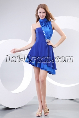 High Neckline Royal Best Short Prom Dress