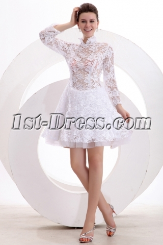 High neckline Lace Long Sleeves Short Cocktail Dress with Illusion Back
