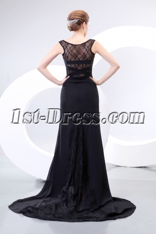 Illusion Back Sexy Long Black Prom Dresses