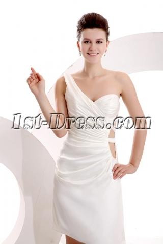 Ivory One Shoulder Mini Sexy Club Dress
