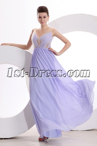 Lavender Sexy Illusion Chiffon Evening Dress with V-neckline