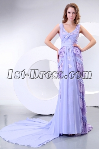 Lavender V-neckline Column Long Mother of Groom Dress