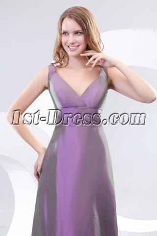 Lilac V-neckline Taffeta Couture Bridesmaid Prom Dresses 2013