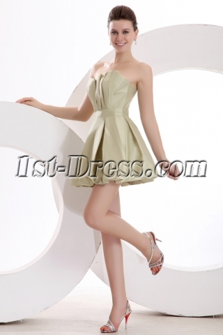 Lovely Sage Taffeta Bubble Homecoming Gown for Senior