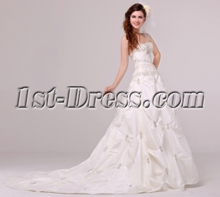 Luxurious Embroidery Pick up Taffeta Wedding Dress 2014 with Corset