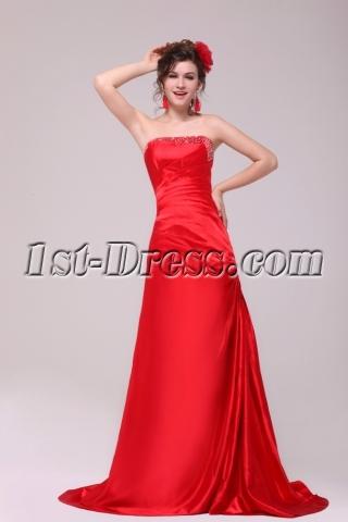 Modern Red A-line Strapless Formal Evening Dress